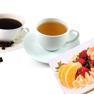 Coffee tea with fruits