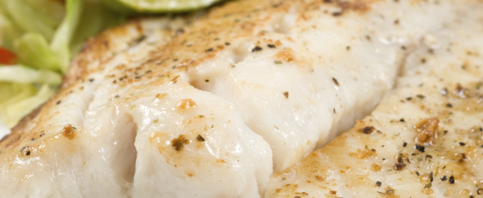 Baked white fish with grilled vegetables