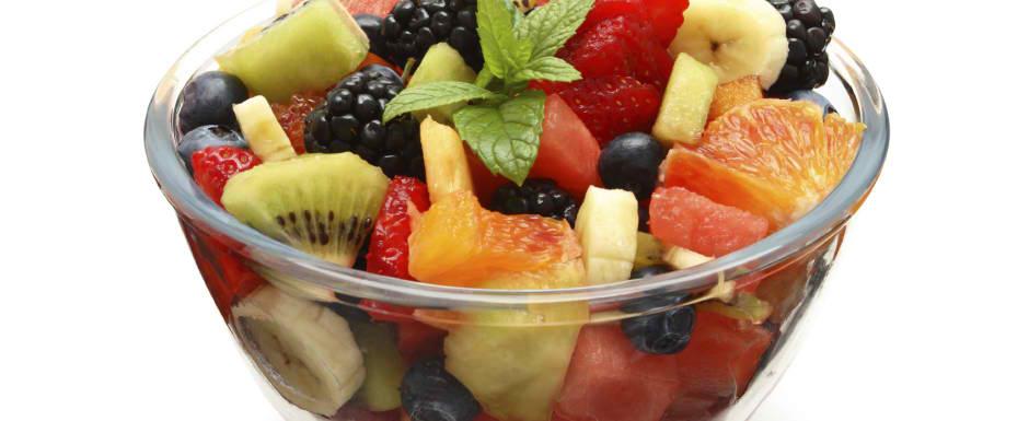 Fruit salad of melon, strawberries and kiwi