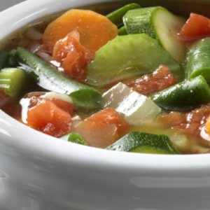 Hearty vegetable soup with meatballs